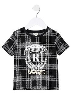 river-island-mini-boys-foil-print-check-t-shirt--nbspblack