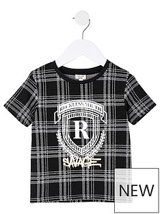 river-island-mini-boys-foil-print-check-t-shirt--nbspblack