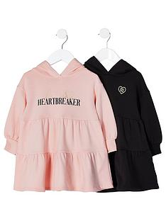river-island-mini-girls-2-pack-tiered-sweat-dress-pinkblack