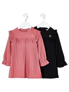 river-island-mini-girls-2-pack-smock-dress-pinkblack
