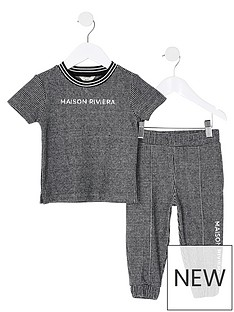 river-island-mini-boys-2-piecenbspchecked-t-shirt-and-jog-pants-set--nbspnavy