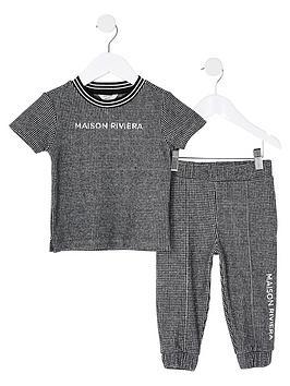 river-island-mini-boys-2-piecenbspchecked-t-shirt-and-jog-pants-set--nbspnavy