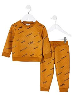 river-island-mini-boys-2-piecenbspall-over-printed-sweatshirt-and-jog-set--nbspochre