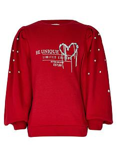 river-island-girls-puff-sleeve-diamante-sweatshirt-red