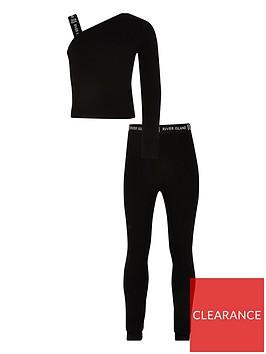 river-island-girls-one-shoulder-crop-and-legging-set--black