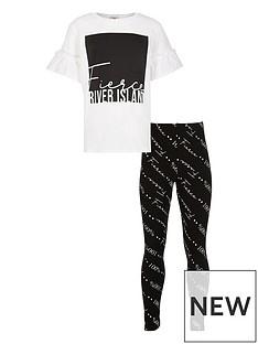 river-island-girls-2-piece-fierce-short-sleeve-t-shirt-and-leggings-set--nbspwhiteblack