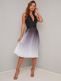 chi-chi-london-amabelle-halter-neck-pleated-skirt-midi-dress-black