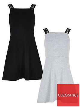 river-island-girls-2-pack-skater-dress--blackgrey