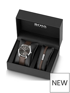 boss-boss-grey-sunray-dial-brown-leather-strap-mens-watch-and-matching-bracelet-gift-set