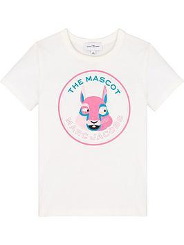 The Marc Jacob Girls Short Sleeve Mascot T-Shirt - White , Off White, Size 4 Years, Women