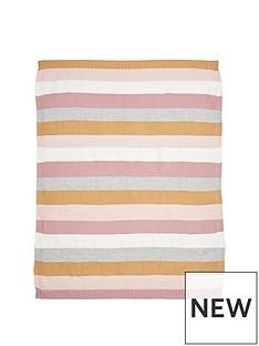 mamas-papas-knitted-blanket-multi-stripe-pink