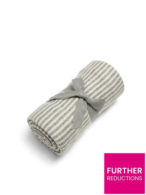 mamas-papas-knitted-blanket-grey-white-stripe