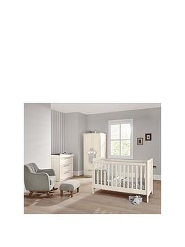 Mamas & Papas Heaton 3 Piece Nursery Furniture Range with Adjustable Cot to Toddler Bed, Dresser and Wardrobe - Ivory