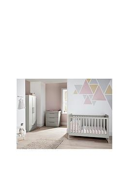 Mamas & Papas Heaton 3 Piece Furniture Range with Adjustable Cot to Toddler Bed, Dresser and Wardrobe - Grey