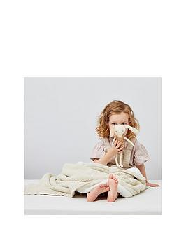 The Little Green Sheep Organic Knitted Fleece Baby Blanket, Linen