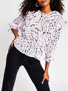 river-island-animal-print-frill-blouse-pink