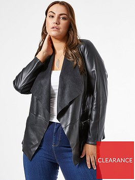 dorothy-perkins-curve-faux-leather-pu-waterfall-jacket-black