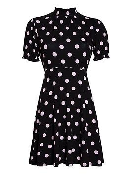 dorothy-perkins-petite-spot-shirred-high-neck-fit-and-flare-dress-black