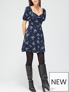 dorothy-perkins-ditsynbspbubble-sleeve-fit-and-flare-dress-bluenbsp