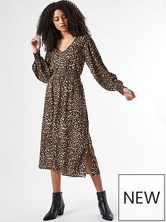 dorothy-perkins-sheered-waist-v-neck-midi-leopard-print-dress