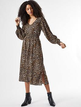 dorothy perkins shirred waist v neck midi leopard print dress - brown, multi, size 8, women