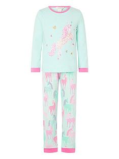 monsoon-girls-organic-unicorn-jersey-pyjama-set-aqua
