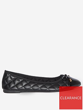 dorothy-perkins-wide-fit-penelope-quilted-toe-cap-ballerina-pumps--nbspblack