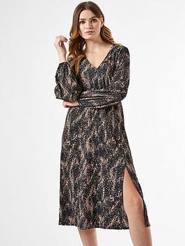 dorothy perkins shirred waist jersey midi dress - black