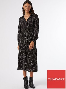 dorothy-perkins-long-sleeve-spot-shirred-waist-shirt-dress-blacknbsp