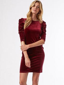 dorothy perkins velvet puff sleeve bodycon dress - wine, burgundy, size 18, women
