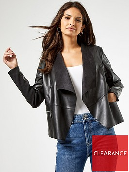 dorothy-perkins-faux-leather-pu-waterfall-jacket-black