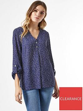 dorothy-perkins-two-button-roll-sleeve-shirt-navynbsp