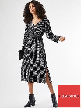 dorothy-perkins-shirrednbspwaist-v-neck-midi-spot-print-dress--nbspblack
