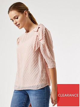 dorothy-perkins-bow-shoulder-three-quarter-sleeve-dobby-top-blush