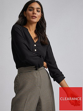 dorothy-perkins-roll-sleeve-shirt--nbspblack