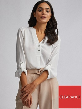 dorothy-perkins-double-button-collarless-roll-sleeve-top-ivory