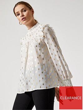 dorothy-perkins-foil-spot-printnbspruffle-shirt--nbspivorynbsp