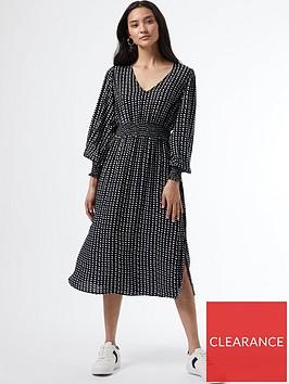 dorothy-perkins-petitenbspmono-shirred-waist-v-neck-midi-dress-black