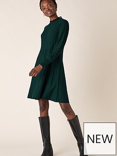 monsoon-recycled-polyester-woven-trim-dress-green