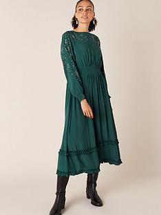 monsoon-heatseal-hanky-hem-midi-dress-green
