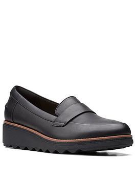 Clarks Sharon Gracie Leather Wedge Shoe - Black