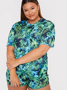 in-the-style-curve-in-the-style-curve-x-gemma-collinsnbspdark-leaf-print-shorts-nightwear-set-green