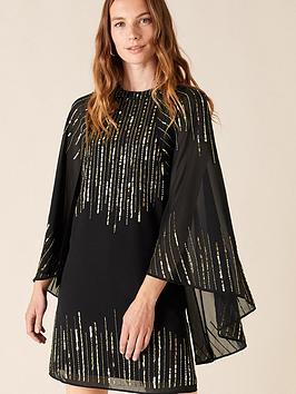 monsoon-candida-sustainable-embellished-cape-sleeve-dress-black