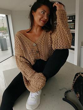 In The Style In The Style X Lorna Luxe 'Belle' Crochet Balloon Sleeve Oversized Cardigan - Tan, Tan, Size 6, Women