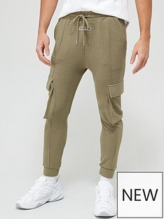 il-sarto-textured-rib-cargo-sweatpants-olive-green