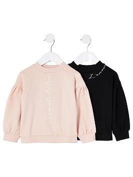 river-island-mini-girls-2-pack-sweatshirts--nbspcreamblack