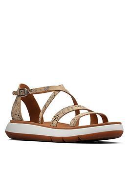 Clarks Jemsa Strap Leather Flat Sandal - Taupe