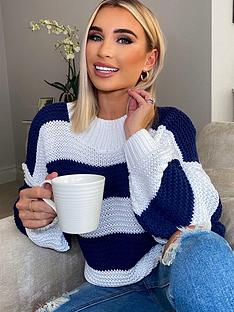 in-the-style-in-the-style-x-billie-faiers-stripe-oversized-jumper-navy