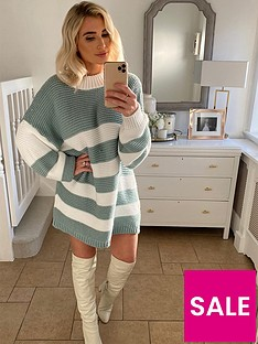 in-the-style-in-the-style-x-billie-faiersnbspstripe-oversized-jumper-dress-sage