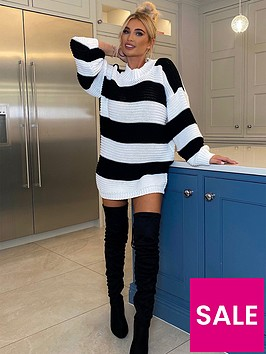 in-the-style-in-the-style-x-billie-faiersnbspstripe-oversized-jumper-dress-black